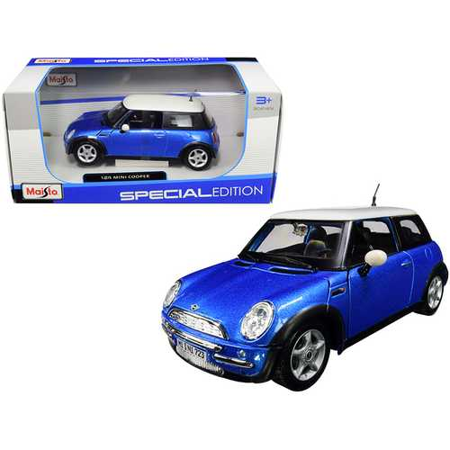 Mini Cooper Metallic Blue with White Top 1/24 Diecast Model Car by Maisto F977-31219bl