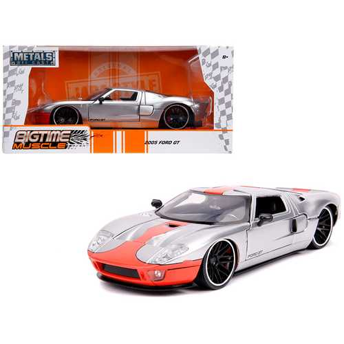 "2005 Ford GT Silver with Orange Stripe ""Bigtime Muscle"" 1/24 Diecast Model Car by Jada F977-31324"
