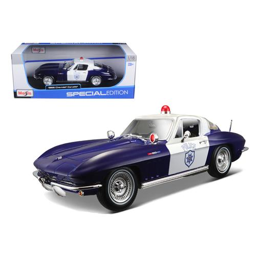1965 Chevrolet Corvette Blue and White Police 1/18 Diecast Model Car by Maisto F977-31381