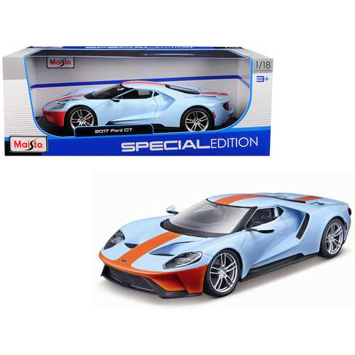 "2017 Ford GT Blue with Orange Stripe ""Special Edition"" 1/18 Diecast Model Car by Maisto F977-31384bl-or"