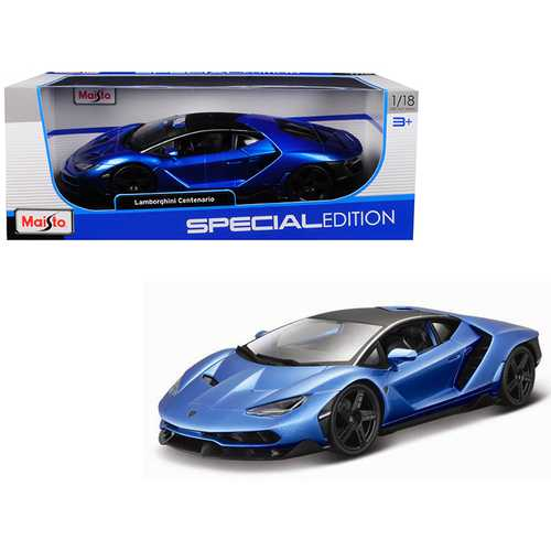 Lamborghini Centenario Metallic Blue with Black Top 1/18 Diecast Model Car by Maisto F977-31386bl