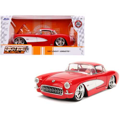 "1957 Chevrolet Corvette Red with Red Interior ""Bigtime Muscle"" 1/24 Diecast Model Car by Jada F977-31451"
