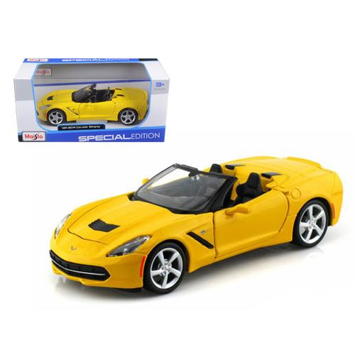 2014 Chevrolet Corvette C7 Convertible Yellow 1/24 Diecast Model Car by Maisto F977-31501y