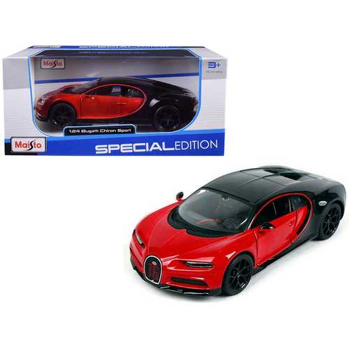 "Bugatti Chiron Sport ""16"" Red and Black ""Special Edition"" 1/24 Diecast Model Car by Maisto F977-31524r"