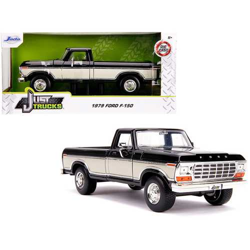 "1979 Ford F-150 Pickup Truck Stock Black and Cream ""Just Trucks"" 1/24 Diecast Model Car by Jada F977-31585"