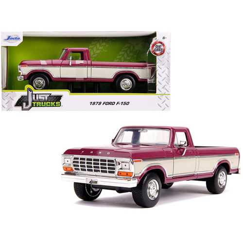"1979 Ford F-150 Pickup Truck Stock Plum Metallic and Cream ""Just Trucks"" 1/24 Diecast Model Car by  F977-31586"