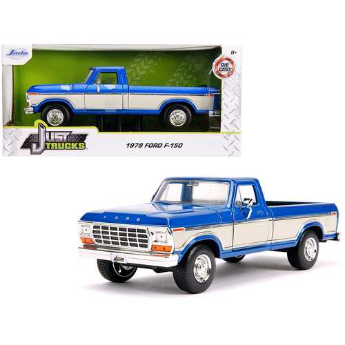 "1979 Ford F-150 Pickup Truck Stock Candy Blue Metallic and Cream ""Just Trucks"" 1/24 Diecast Model C F977-31587"