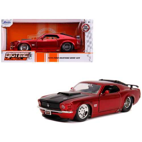 "1970 Ford Mustang Boss 429 Candy Red with Black Hood ""Bigtime Muscle"" 1/24 Diecast Model Car by Jada F977-31648"