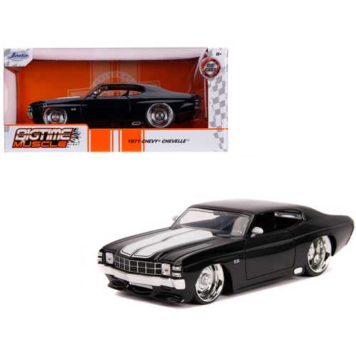 "1971 Chevrolet Chevelle SS Glossy Black with White Stripes ""Bigtime Muscle"" 1/24 Diecast Model Car  F977-31653"