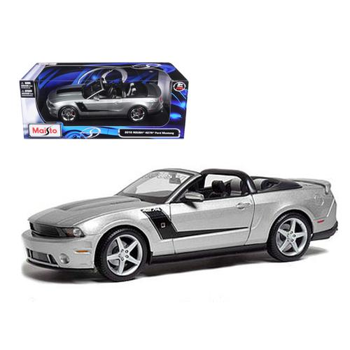 2010 Ford Mustang Convertible 427R Roush Edition Silver 1/18 Diecast Model Car by Maisto F977-31669s