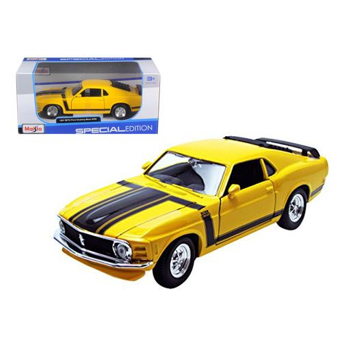 1970 Ford Mustang Boss 302 Yellow 1/24 Diecast Model Car by Maisto F977-31943y