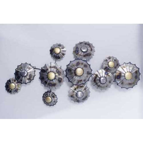 Clustered Metal Circles Wall Decor - Metallic Multi Color N270-319798