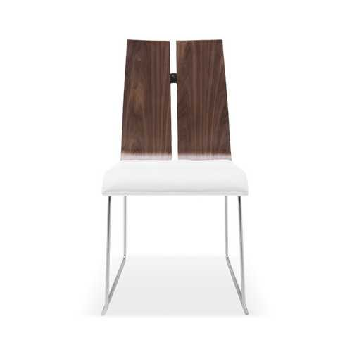Set Of 2 Dining Chair. Natural Walnut Veneer White Faux Leather. Metal Frame With Brushed Nickel N270-320734