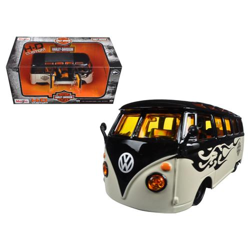 Volkswagen Van Samba Harley Davidson Black and Beige 1/25 Diecast Model Car by Maisto F977-32192BK-BG