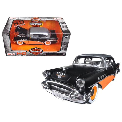1955 Buick Century Harley Davidson Black / Orange 1/26 Diecast Model Car  by Maisto F977-32197BK/OR