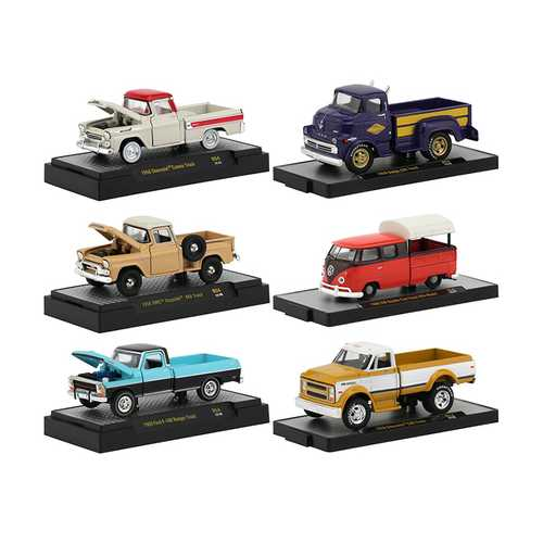"""Auto Trucks"" 6 Pickup Trucks Set, Release 54 IN DISPLAY CASES 1/64 Diecast Model Cars by M2 Machin F977-32500-54"