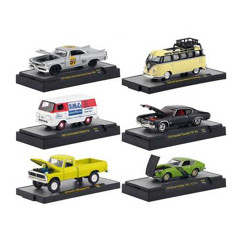 """Auto Meets"" Release 49, Set of 6 Cars IN DISPLAY CASES 1/64 Diecast Model Cars by M2 Machines F977-32600-49"