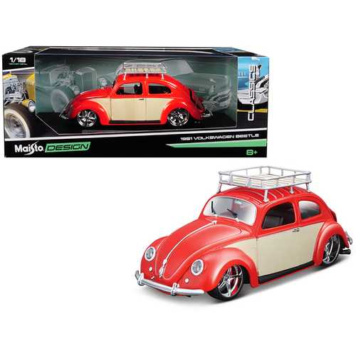 "1951 Volkswagen Beetle with Roof Rack Orange Red ""Classic Muscle"" 1/18 Diecast Model Car by Maisto F977-32614r"