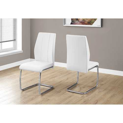 "Two 77.5"" Leather Look, Chrome Metal, and Foam Dining Chairs N270-332601"