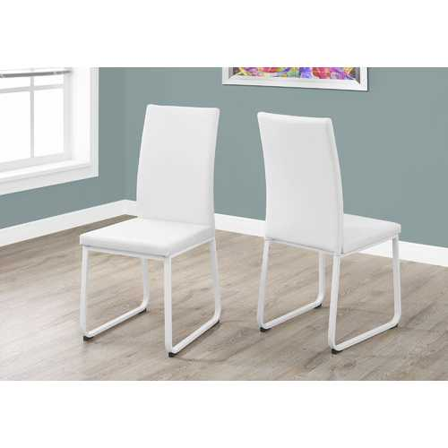 "Two 38"" White Leather Look, Foam, and Metal Dining Chairs N270-332614"