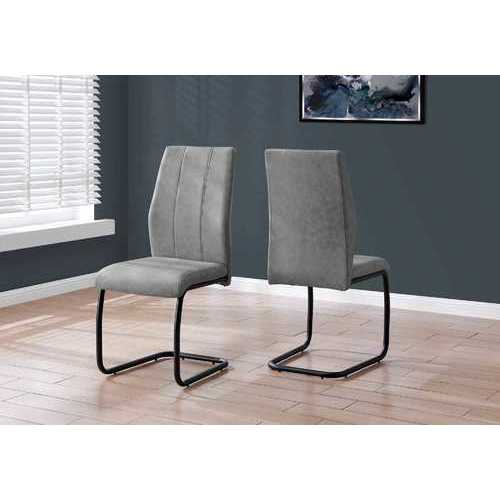 "Two 77.5"" Fabric, Black Metal, and Polyester Dining Chairs N270-332621"