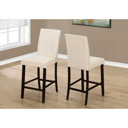 "Two 40"" Ivory Leather Look, Solid Wood, and MDF Counter Height Dining Chairs N270-332666"