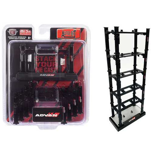 "Stackable Diecast Auto-Lifts 5 piece Set ""ADVAN Yokohama"" for 1/64 Scale Model Cars by M2 Machines F977-33500-MJS01"