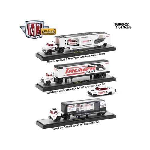 Auto Haulers Release 22, 3 Trucks Set 1/64 Diecast Models by M2 Machines F977-36000-22