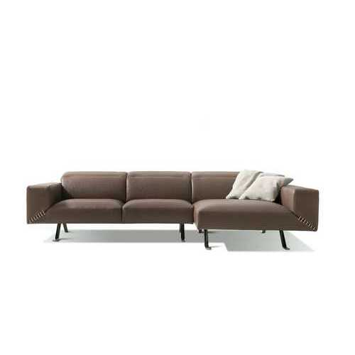 "116"" X 63"" X 29"" Taupe Leather Sectional & Chaise N270-372122"