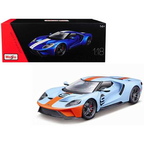 "2017 Ford GT #9 Light Blue with Orange Stripe ""Exclusive Edition"" 1/18 Diecast Model Car by Maisto F977-38134bl-or"