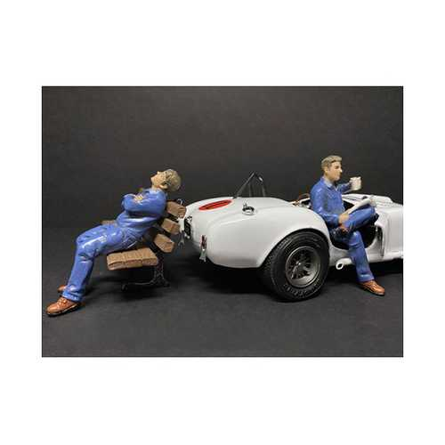 Sitting Mechanics 2 piece Figurine Set for 1/18 Scale Models by American Diorama F977-38232-38233