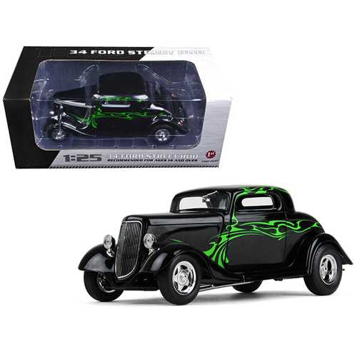 1934 Ford Coupe Street Rod Black with Lime Green 1/25 Diecast Model Car by First Gear F977-40-0382