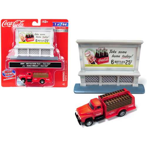 "1954 Ford Bottle Truck Red ""Coca-Cola"" with Outdoor Billboard ""Coca-Cola"" 1/87 (HO) Scale Model by  F977-40004"