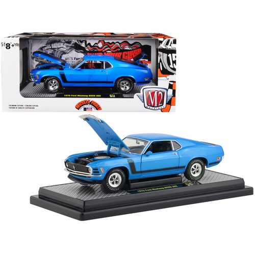 1970 Ford Mustang BOSS 302 Medium Blue Metallic with Black Stripe Limited Edition to 5,880 pieces W F977-40300-74B