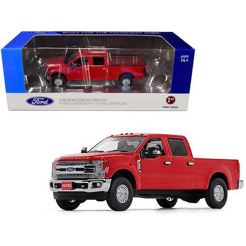Ford F-250 Crew Cab Super Duty Pickup Truck Race Red 1/50 Diecast Model Car by First Gear F977-50-3419