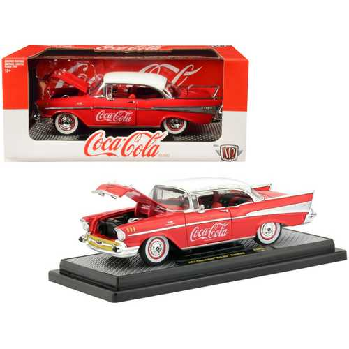 "1957 Chevrolet Bel Air Hardtop ""Coca-Cola"" Red Limited Edition to 9,600 pieces Worldwide 1/24 Dieca F977-50300-RW03"