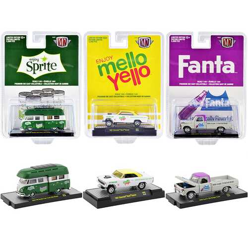 """3 Sodas"" Set of 3 pieces Limited Edition to 5000 pieces Worldwide 1/64 Diecast Model Cars by M2 Ma F977-52500-A03"