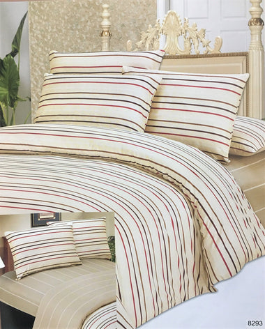 DaDa Bedding Multi-Color White Striped Flat Sheet & Pillow Cases Set (FS8293)