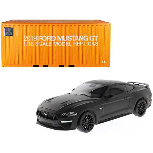 2019 Ford Mustang GT 5.0 Coupe Matt Black 1/18 Diecast Model Car by Diecast Masters F977-61005