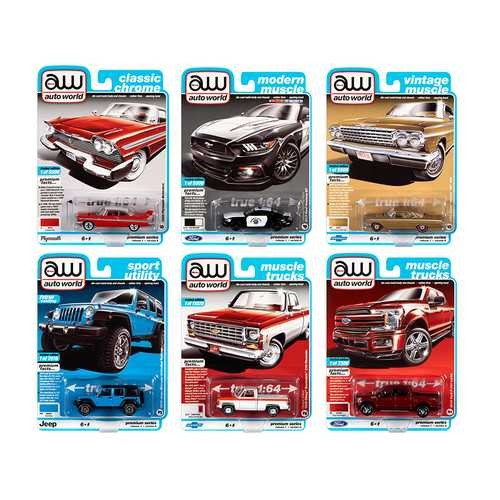 Autoworld Muscle Cars Premium 2020 Release 1, Set A of 6 pieces 1/64 Diecast Model Cars by Autoworld F977-64242A
