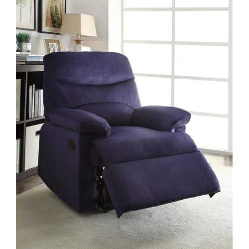 Recliner , Blue Woven Fabric - Woven Fabric, Wood (Solid Blue Woven Fabric N270-286519