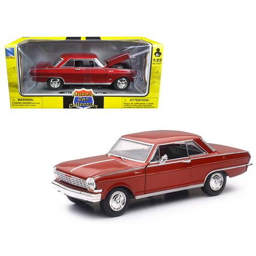 "1964 Chevrolet Nova SS Burgundy ""Muscle Car Collection"" 1/25 Diecast Model Car by New Ray F977-71823A"