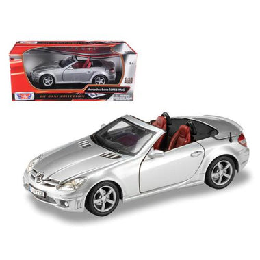 Mercedes Benz SLK 55 AMG with Retractable Roof Silver Blue 1/18 Diecast Model Car by Motormax F977-73162s
