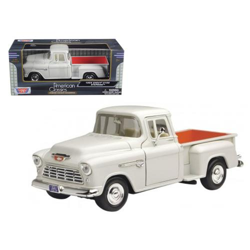 1955 Chevrolet 5100 Stepside Pickup Truck Beige 1/24 Diecast Car Model by Motormax F977-73236bg