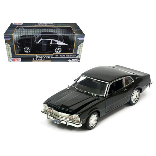 1974 Ford Maverick Black 1/24 Diecast Car Model by Motormax F977-73326BK