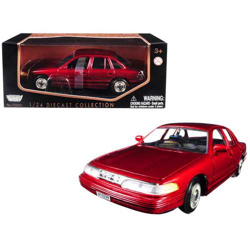 1998 Ford Crown Victoria Metallic Red 1/24 Diecast Model Car by Motormax F977-76102r
