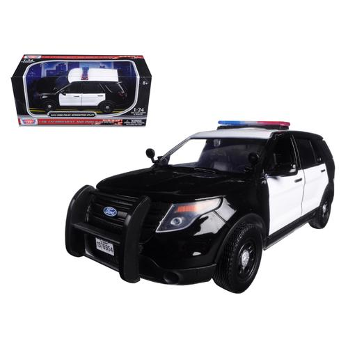 2015 Ford Police Interceptor Unmarked Black and White 1/24 Diecast Model Car by Motormax F977-76958