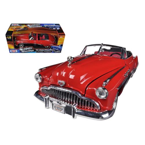 1949 Buick Roadmaster Red/Black Custom 1/18 Diecast Car Model by Motormax F977-79004