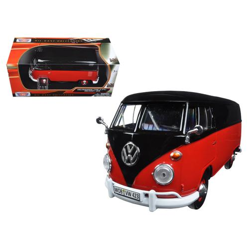 Volkswagen Type 2 (T1) Delivery Van Black and Red 1/24 Diecast Model Car by Motormax F977-79342BKR