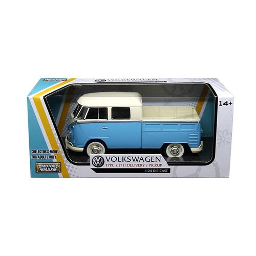 Volkswagen Type 2 (T1) Double Cab Pickup Truck Blue/Cream 1/24 Diecast Model Car by Motormax F977-79343LTBL-CRM